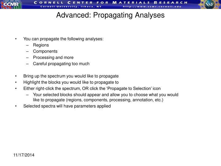 Advanced: Propagating Analyses