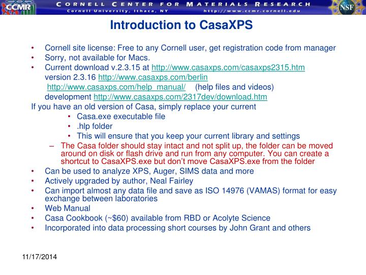 Introduction to CasaXPS