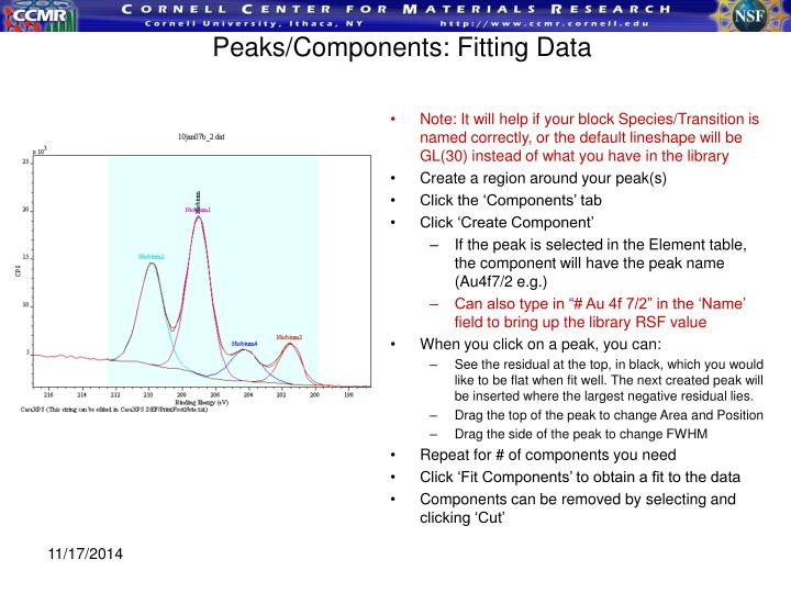 Peaks/Components: Fitting Data