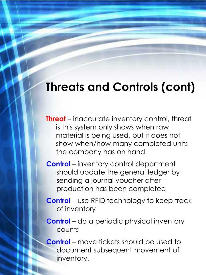Threats and Controls (cont)