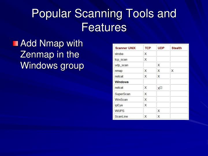 Popular Scanning Tools and Features