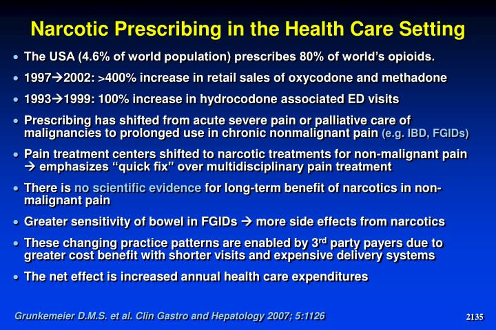 Narcotic Prescribing in the Health Care Setting