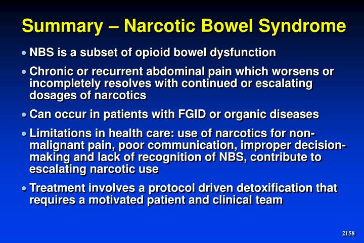 Summary – Narcotic Bowel Syndrome