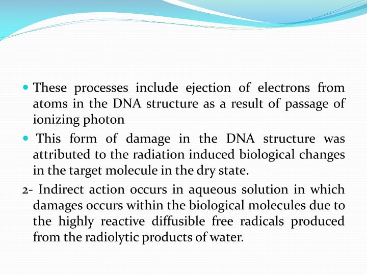 These processes include ejection of electrons from atoms in the DNA structure as a result of passage of ionizing photon
