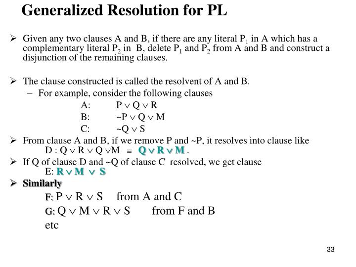 Generalized Resolution for PL