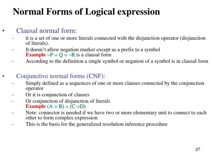Normal Forms of Logical expression