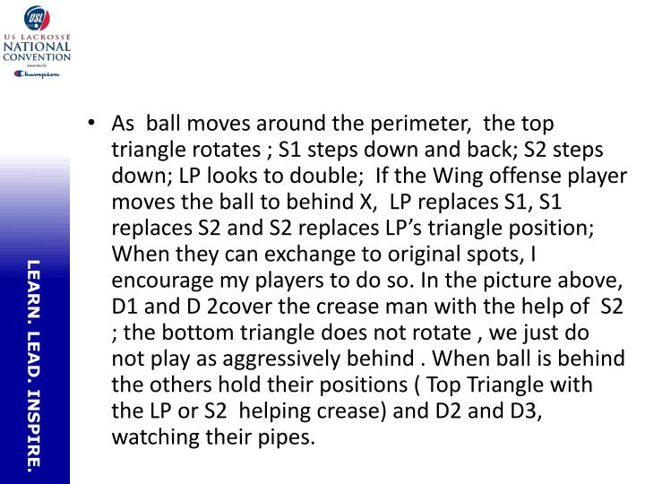 As  ball moves around the perimeter,  the top triangle rotates ; S1 steps down and back; S2 steps down; LP looks to double;  If the Wing offense player moves the ball to behind X,  LP replaces S1, S1 replaces S2 and S2 replaces LP's triangle position;  When they can exchange to original spots, I encourage my players to do so. In the picture above, D1 and D 2cover the crease man with the help of  S2 ; the bottom triangle does not rotate , we just do not play as aggressively behind . When ball is behind the others hold their positions ( Top Triangle with the LP or S2  helping crease) and D2 and D3, watching their pipes.