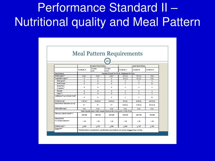 Performance Standard II – Nutritional quality and Meal Pattern