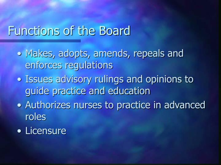Functions of the Board