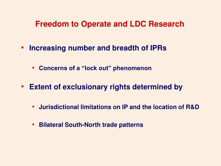 Freedom to Operate and LDC Research