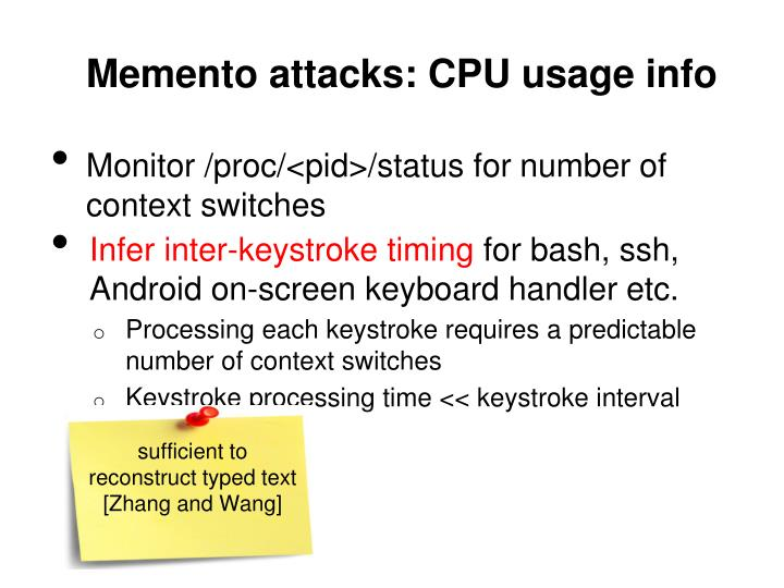 Memento attacks: CPU usage info
