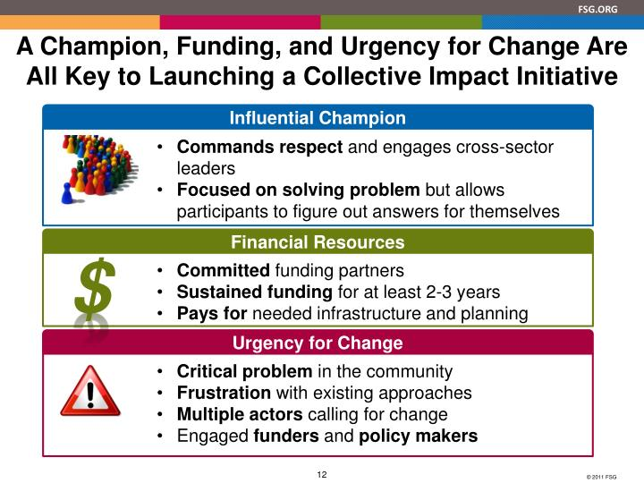 A Champion, Funding, and Urgency for Change Are All Key to Launching a Collective Impact Initiative