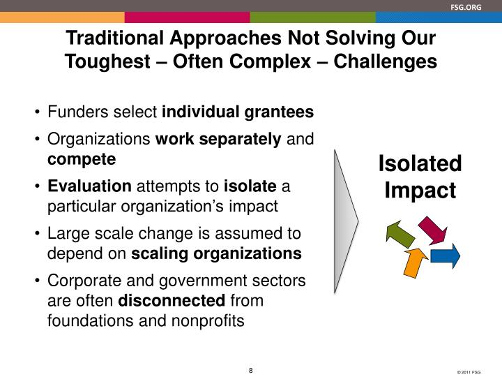 Traditional Approaches Not Solving Our Toughest – Often Complex – Challenges