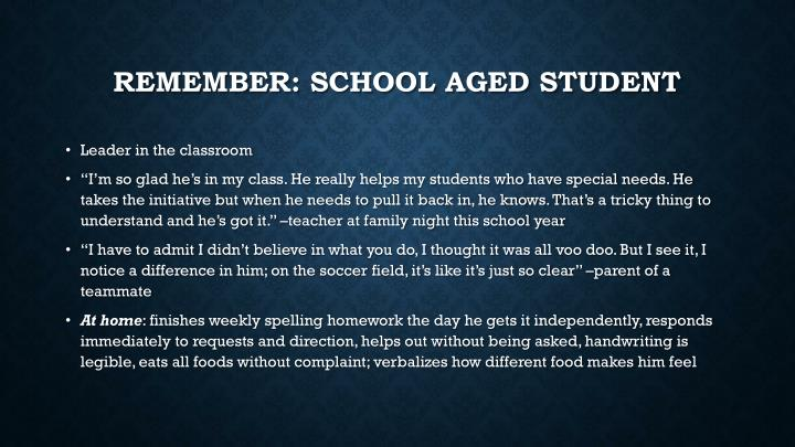 Remember: School aged student