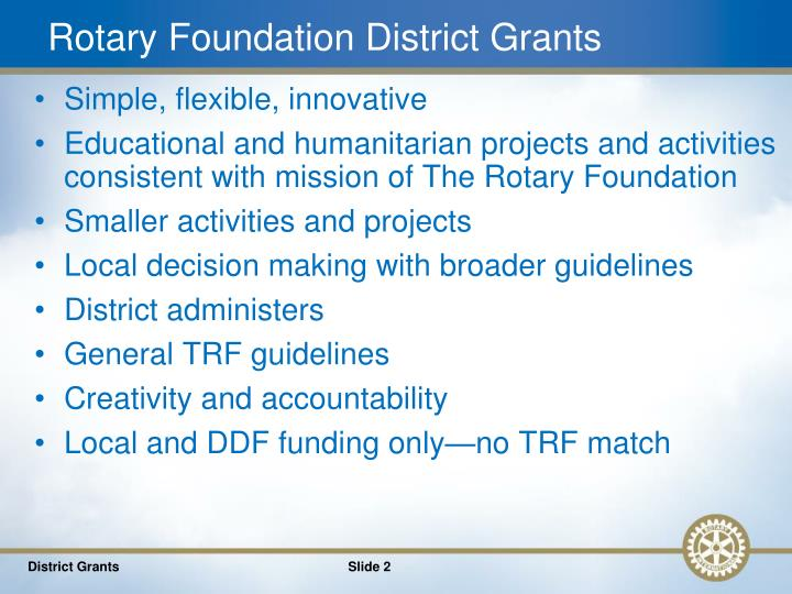 Rotary foundation district grants1