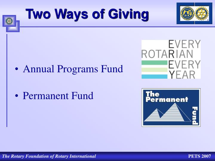 Two Ways of Giving
