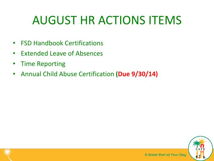 August hr actions items