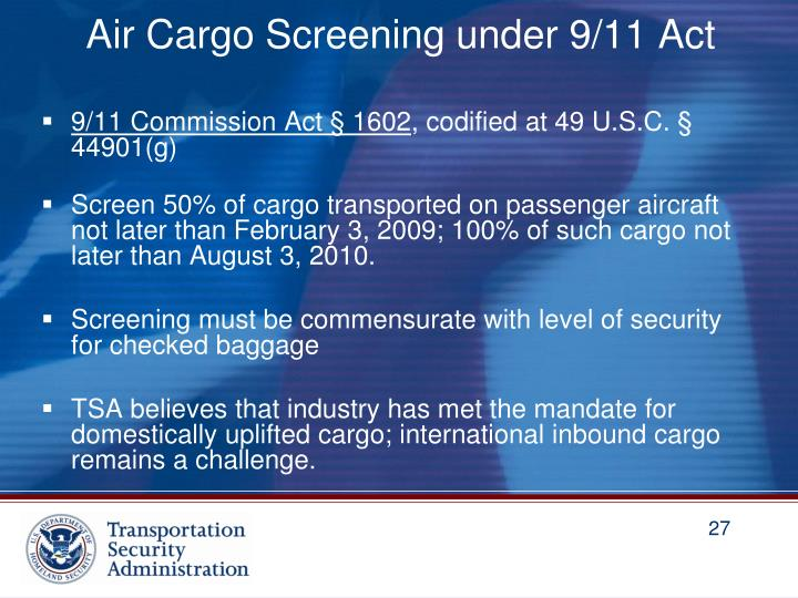 Air Cargo Screening under 9/11 Act