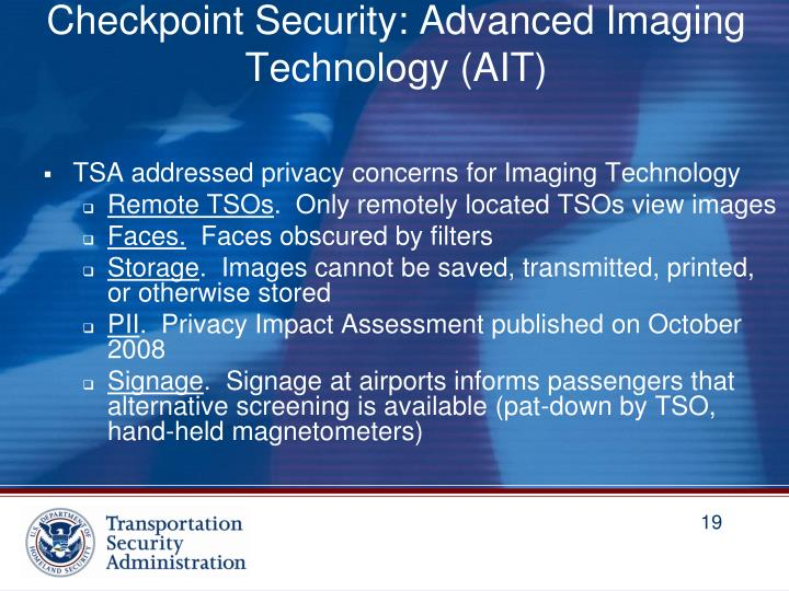 Checkpoint Security: Advanced Imaging Technology (AIT)
