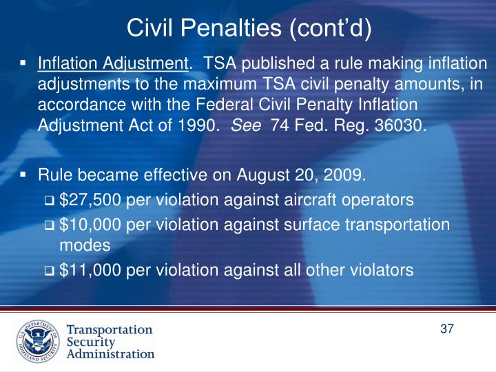 Civil Penalties (cont'd)