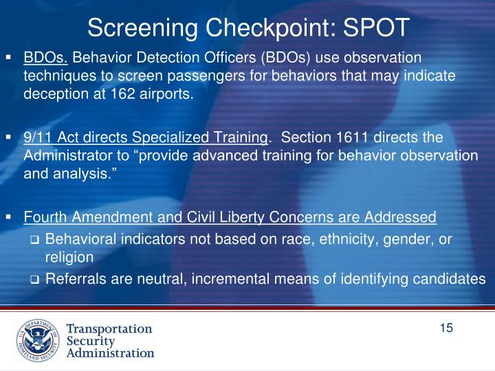 Screening Checkpoint: SPOT