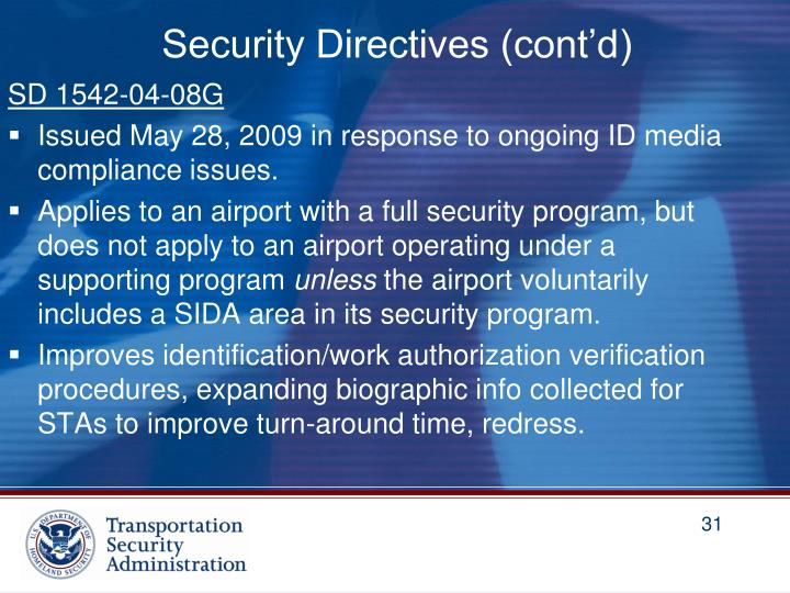 Security Directives (cont'd)
