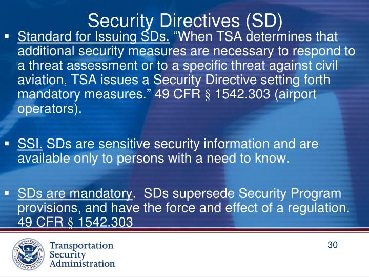 Security Directives (SD)