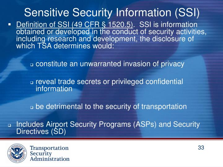 Sensitive Security Information (SSI)