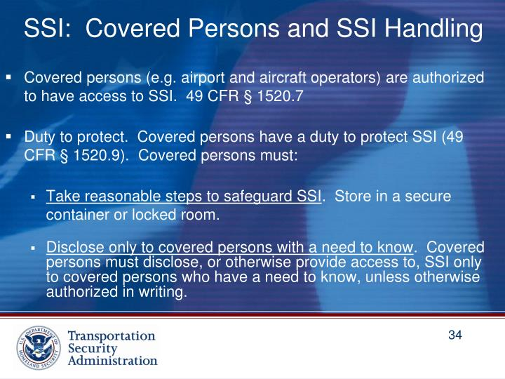SSI:  Covered Persons and SSI Handling