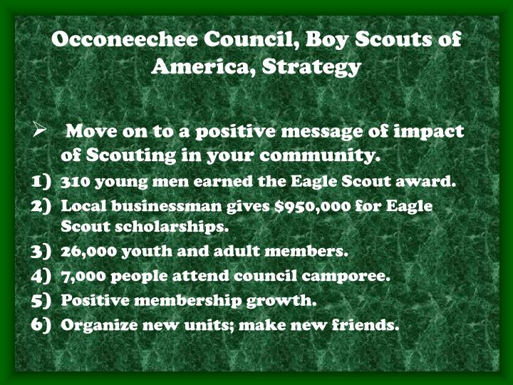 Occoneechee Council, Boy Scouts of America, Strategy