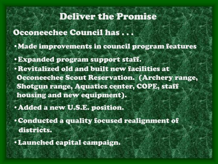 Deliver the Promise