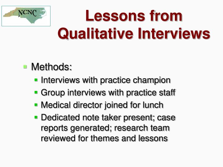 Lessons from Qualitative Interviews