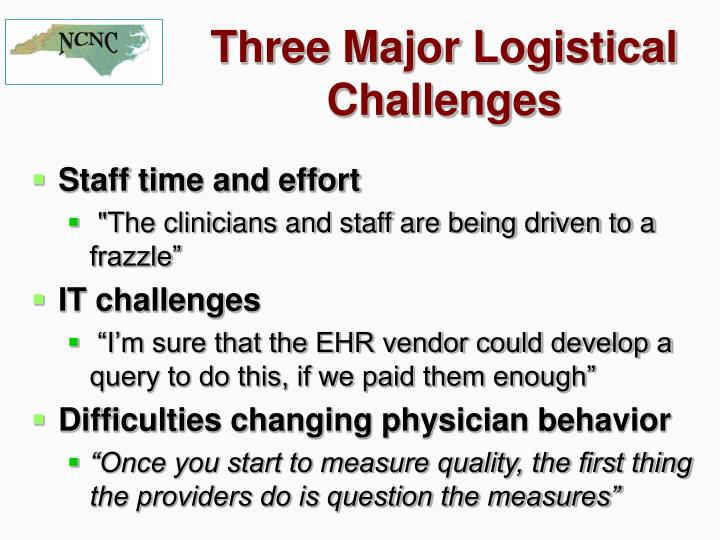 Three Major Logistical Challenges