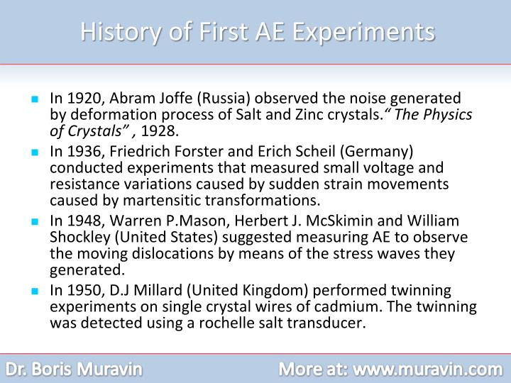 History of First AE Experiments