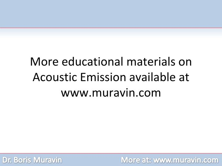 More educational materials on Acoustic Emission available at