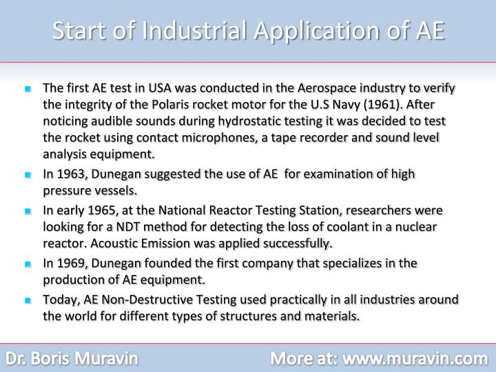 Start of Industrial Application of AE