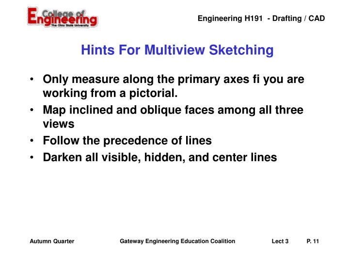 Hints For Multiview Sketching