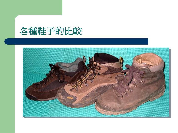 各種鞋子的比較