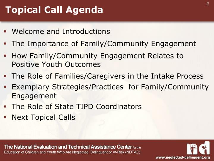 Topical Call Agenda