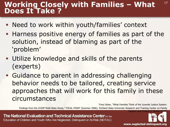 Working Closely with Families – What Does It Take ?