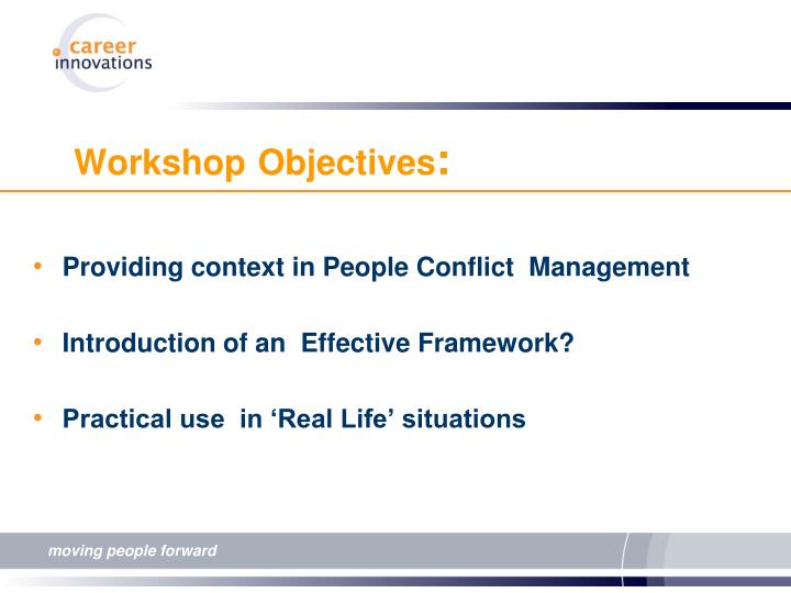 Providing context in People Conflict  Management