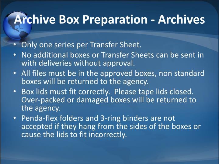 Archive Box Preparation - Archives