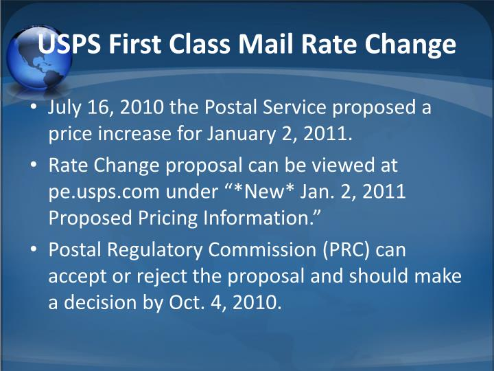 USPS First Class Mail Rate Change