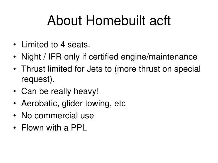About Homebuilt acft