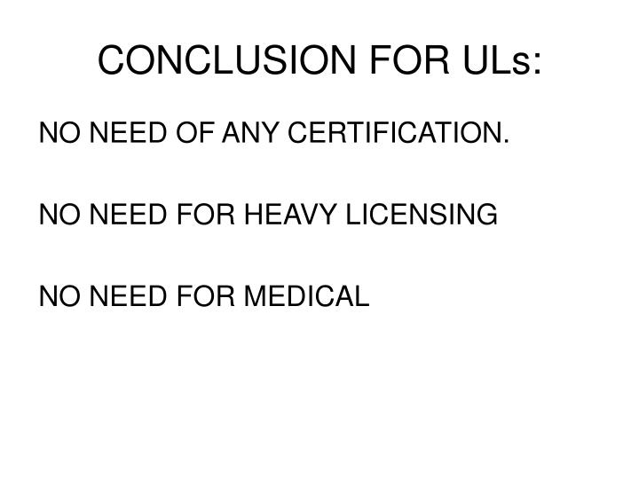 CONCLUSION FOR ULs: