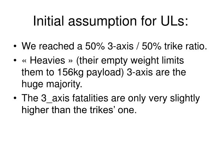 Initial assumption for ULs: