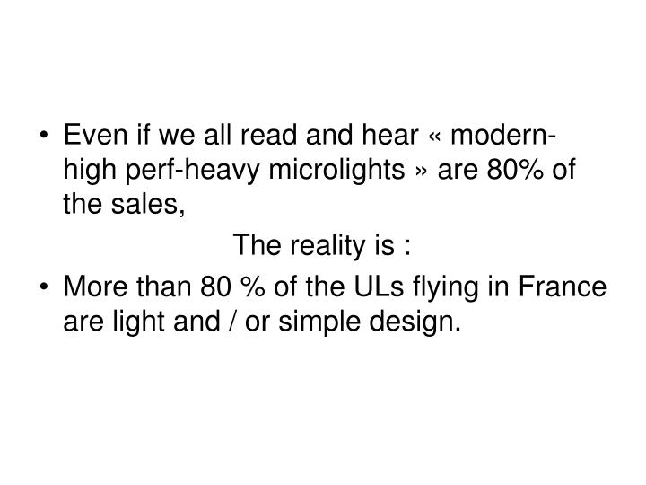 Even if we all read and hear «modern-high perf-heavy microlights» are 80% of the sales,