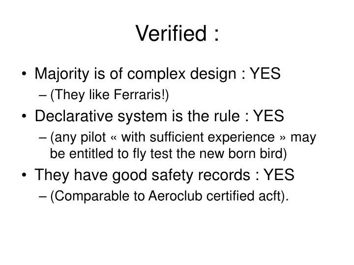 Verified :