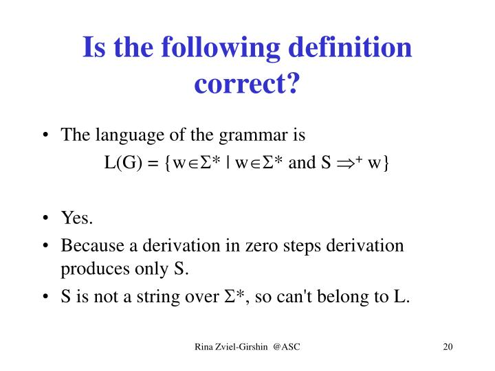 Is the following definition correct?