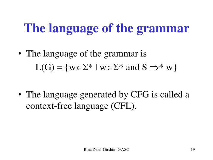 The language of the grammar